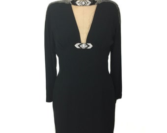 vintage 1980s BOB MACKIE beaded wiggle dress / black / rayon / bombshell vixen / little black dress / women's vintage dress / tag size 8