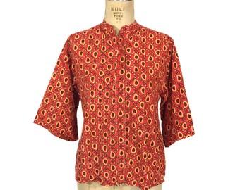 vintage Indian cotton blouse / teardrop paisley print / button front blouse / cotton / women's vintage blouse / tag size 10