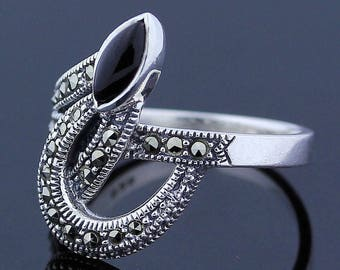 Unique Handmade Black Onyx Marcasite Ring // 925 Sterling Silver Ring Size 8.5 Jewelry - R106