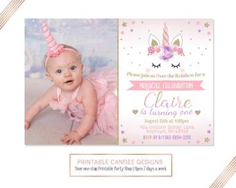 Unicorn Birthday Invitation, Floral Unicorn, Unicorn Party, Rainbow Invitation, Pink Gold Purple