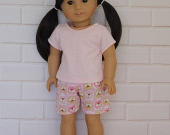 """Pale Pink T-shirt with Pink Shorts - Dolls clothes for 20"""" Australian Girl doll & 18"""" American Girl type dolls"""