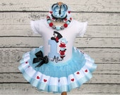 Alice in Wonderland Birthday Outfit - Alice in ONEderland Tutu - Blue Black Red Hearts - Mad Hatter - Tea Party - Unbirthday - 1st Birthday