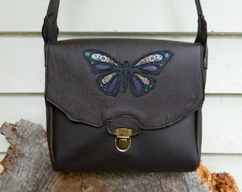 Recycled Leather Satchel Brown Leather Handbag with Butterfly Detailing Butterfly Totem