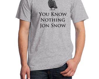 GoT Shirt, Jon Snow Shirt, You Know Nothing Jon Snow Shirt, Fruit of the Loom Shirt, Direct to Garment, Men's Heather Grey Shirt
