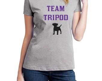 Team Tripod, 3 Legged Dog , Disabled Dog Shirt, Fruit of the Loom, Direct to Garment, Women's Dog Shirt, Heather Grey Shirt
