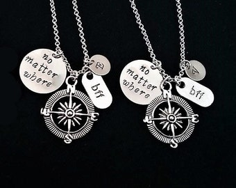 2 best friends necklace, silver necklace, no matter where charm, no matter what, personalized initial, friendship jewelry, two BFF, compass