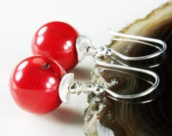 Red Bamboo Coral Earrings, Sterling Silver earrings, fine earrings with red gemstone, dangle earrings, summer earrings, gift for her,ER2593