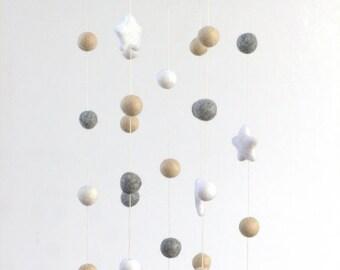 Neutral Star & Felt Ball Nursery Mobile- Almond, Gray, White-  Nursery Childrens Room Pom Pom Mobile Garland Decor