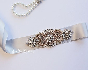 Gold Rhinestone Bridal Belt...Gray Bridal Sash..Gold Flower Sash / Belt Flower Girl Sash..Gray Bridal Belt/ Gray Sash..Maternity Sash