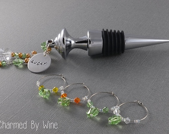 Wine Stopper and Shamrock Charm; St. Patrick's Day, Wine Gifts, Wine Corks and Wine Charms; Lucky Charm