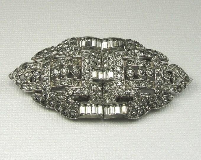 Vintage Duette Rhinestone Brooch, Art Deco Rhinestone Dress Clip, Dress Clip Pin, Rhinestone Dress Clip, Pin with Rhinestones