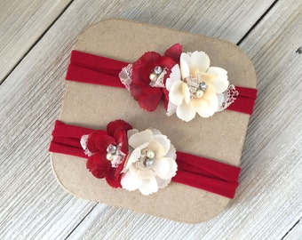Red and Ivory Christmas Stretch Baby Headband - Toddler- Ready to Ship