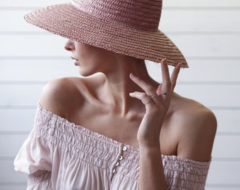 Vintage lilac pink natural straw wide brim summer sun floppy hat