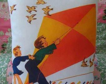 Come fly a kite hand printed fabric cushion