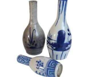 Three Antique Japanese Vases. Blue and White Japanese Porcelain. Japanese Ceramic. Japanese Pottery. Imari. Flower Arranging. Ikebana.