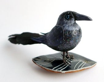 Crow Bird Ornament, jackdaw fascinator, crow hair grip, faux taxidermy bird ornament