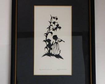 Vintage Scherenschnitte / Hand Cut Paper -- Boy & Girl with Flute / Pipe, Bleeding Heart Flowers, Silhouette Children at Play, Nursery Decor