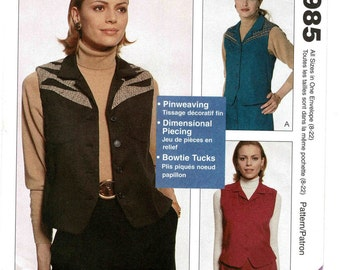 McCalls 8985 Womens Unlined Vests Sewing Patterns Nancy Zieman Misses Size S M L XL Bust 32 to 44 Pinweaving, Tucks, Fancy Piecing UNCUT FF