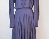 Navy Blue Dress / Vtg 80s...
