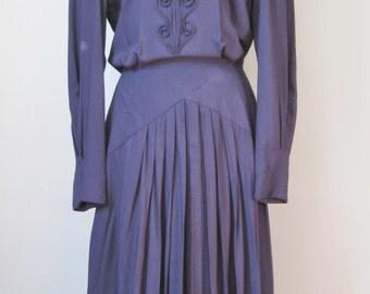 Navy Blue Dress / Vtg 80s  /  Nancy Johnson 40s Style Navy Blue Dress / Size 8