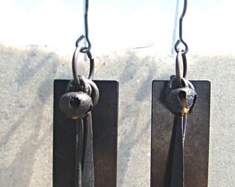 Steel Rectangle with Hammered Steel Teardrop Beads and Bell Earrings