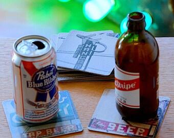 Beer Bar Photo Coasters Handmade from Upcycled Cardboard, Barware, Beer Lover Gift