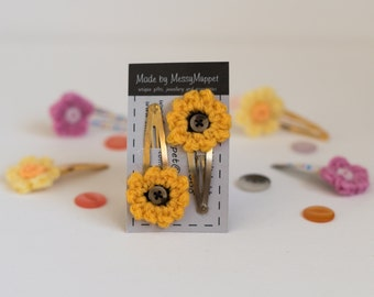 Yellow Sunflower Crochet Hair Clips With Brown Buttons and Gold Clips