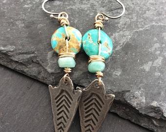 Turquoise dangle earrings -  dagger boho earrings - tribal earrings - sleeping  beauty turquoise - birthday gift for her