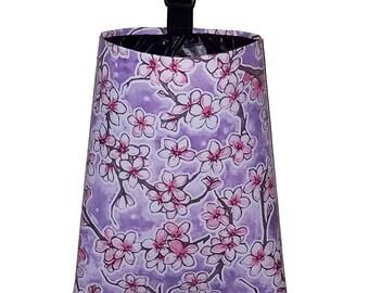 Car Trash Bag  - Oil Cloth Cherry Blossoms - Lavender