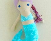Reserved for Aimee - Fabric Doll Rag Doll Mermaid Doll with Light Purple Hair and a Blue-Green Tail