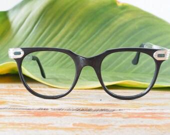 Vintage Eyeglasses 1950's Aluminium Temples New Old Stock Frames Hipster Glasses Rare Men's