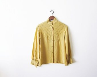 Chinese Silk Blouse / Embroidered Silk Shirt / Golden Yellow Asian Silk Long Sleeve Small