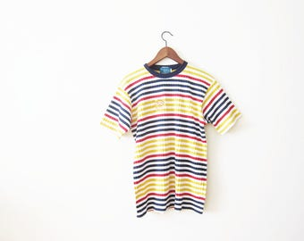 90s Shirt / Striped T Shirt / Grunge Shirt / Ribbed Shirt / 90s Striped Shirt / Multicolor Stripes / Oversized Shirt