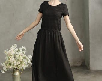 black maxi dress, drawstring waist dress, pintuck dress, black linen dress, long kaftan dress, maxi tunic linen, pleated dress, prom dress