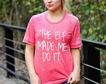 Ladies ELF Shirt, Women's Christmas T-shirt