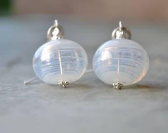 White Earrings, Blown Glass Earrings, Sterling Silver Bead Earrings, White Drop Earrings, Lampwork Jewelry, Large Earrings, Women Gift Ideas