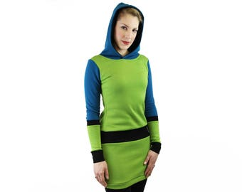 hooded green dress handmade berlin
