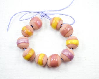 10 Handcrafted Ceramic Beads - Pastel - Unique Assortment - Earthy - Striped- Handmade - Round- Pottery beads - Brownstone - Bead Set Y455