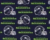 Seattle Seahawks Football, NFL Fabric, Blue Seahawks Fabric with Helmet, 100% Cotton Broadcloth Fabric
