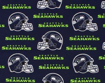 NFL Fabric, Seattle Seahawks Football - Blue Seahawks Fabric with Helmet, 100% Cotton Broadcloth Fabric - By the Half Yard