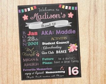 16th Birthday Sign Chalkboard sign. PRINTABLE sweet 16 party decorations. poster chalk board print.