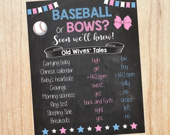 Baseball or Bows Old Wives' Tales sign PRINTABLE Gender Reveal Guess baby shower chalkboard poster boy or girl