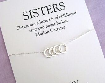 Sister Gift,  sister necklace, 40th birthday gift for women, Four SISTERS Necklace, Sister Gift 40th, 40th birthday gift for sister sterling