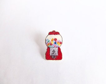 Gumball Machine cross stitched pin, one of a kind, gifts under 50, gifts for toy collectors