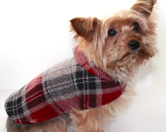 Plaid Dog Hoodie, XXS and grey XS Red Black Warm Blizzard Fleece warm winter Dogs Coat Jacket Sweater, In Stock Fashion Dog Clothing