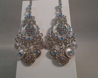 POST/STUD Silver Tone Chandelier Earrings Silver Tone, Blue and Purple Charm Dangles