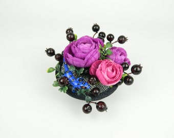 Headpiece Fascinator Cocktail Hat with Silk Flowers, Berries, Spotted Lizard in Bright Colours Alternative Fashion Statement Hair Accessory