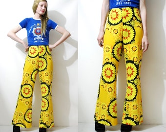 70s Vintage FLARED PANTS Bright Yellow Psychedelic Print Pattern Stretchy Bell Bottoms Trousers Boho Bohemian Hippie Retro 1970s vtg M