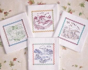 Embroidered Set of Farm Scenes Flour Sack Kitchen Towels Set of 4