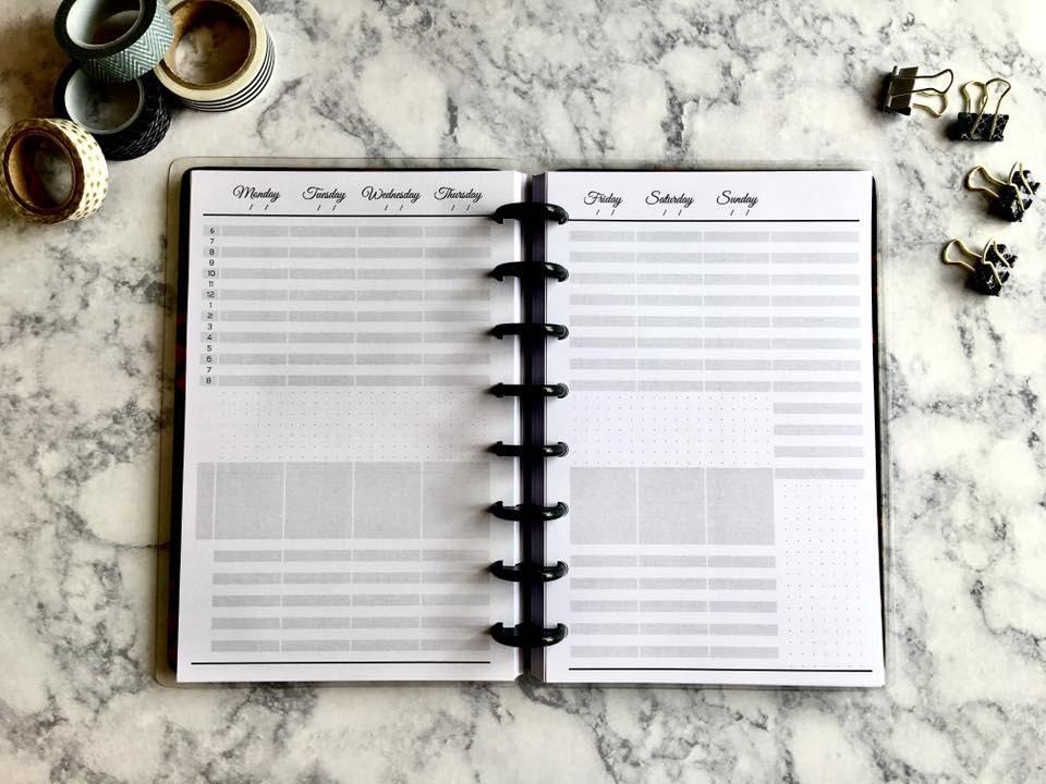 discbound junior planner inserts weekly calendar vertical